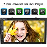 "KKmoon 7"" Reproductor Mulimedia 2 Din DVD/USB/SD Pantalla HD TFT Diseño UI Bluetooth Radio Entertenimiento Entrada Aux Multilenguaje para Coche Universal"