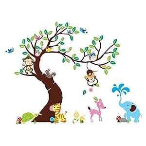 Soledì Animali Albero Adesivo Murale Rimovibile Carta da Pareti Sticker Murali Decorazione da Parete per Casa Hotel Ufficio FAI DA TE