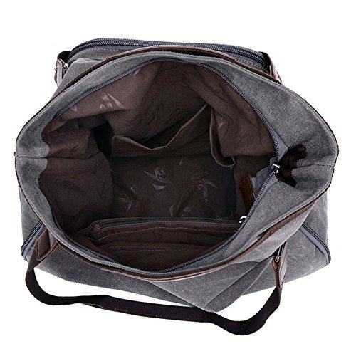 Donna Borsa A Tracolla Universitario Sacchetto Del Messaggero Casual Affari Canvas Bag Con Blu Grigio