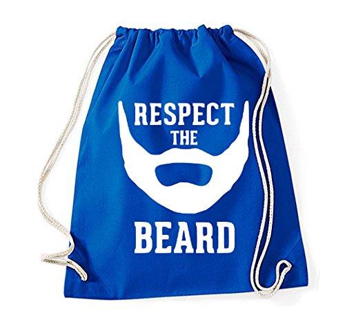 Youth designz cotone borsa sacca modello Respect The Beard, Sport sacchetto turn blu royal Taglia unica