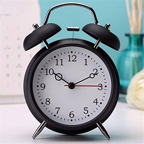 LLSJZ Moda simple metal reloj despertador digital, negro fresco de tiempo