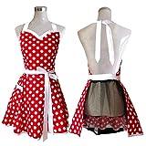 Hyzrz Lovely Sweetheart Küchenschürze, rot, mit Punktmuster, Retro-Stil, für Frau und Mädchen, aus Baumwolle, zum Kochen, Vintage-Stil