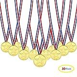 Febbya Medaglie per Bambini,30 Pezzi Winner Medagliette di Plastica Piccolo Mini Medaglia Olimpiadi con Cordino per Bambini Sport Giorno Festa Partito Giocattoli Premi 4CM