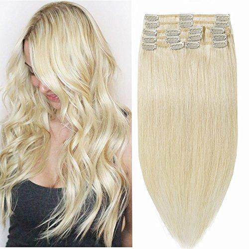 Capelli extension clip parrucca bionda 25cm 70g 8 fasce 18 fermagli testa piena vari colori