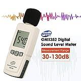 BENETECH GM1352 30-130dB Sonómetro Digital Medidor de Nivel de Ruido Control de Volumen de Audio Prueba dB Decibel Detector con retroiluminación LCD (Color: Blanco)