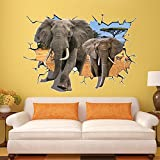 Clest F&H 3D Wall Stickers Decor Decorations African Animal Elephants Large Size