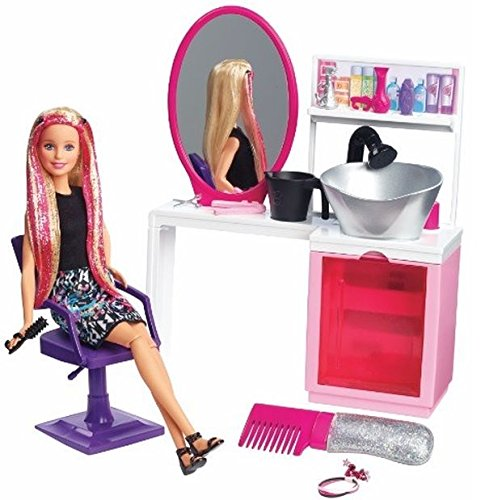 barbie sparkle style salon and blonde doll playset, multi color Barbie Sparkle Style Salon and Blonde Doll Playset, Multi Color 51rvqxdDx1L