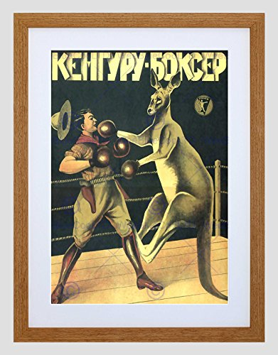 1933 Fine Art (ADVERT 1933 BOXING RUSSIAN KANGAROO NEW BLACK FRAMED ART PRINT PICTURE B12X10477)