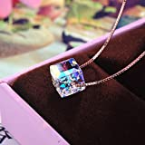 Axiba Color Brillante Collar Cadena de clavícula de Bi-azúcar Corta Cristal Austriaco de S925 Pura Plata Cubo de Rubik Cube El Regalo más Hermoso
