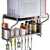 Küchen-Mikrowellenherd-Gestell-hängende Wand-Form-Doppelspeicher-Edelstahl-Gewürz-Regal (Farbe : B, größe : 58 * 36 * 38CM)