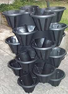 Giant Quad Stacking Plant Pots...6 LAYERS, Black