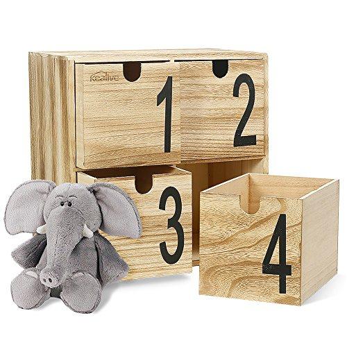 Mini Brust Holz Schreibtisch Organizer Aufbewahrung Deko Schmuck Box für Zuhause, Büro, 29,7x 19.6x 29,7cm Holz Aufbewahrungsboxen (Holz-schubladen-organizer)