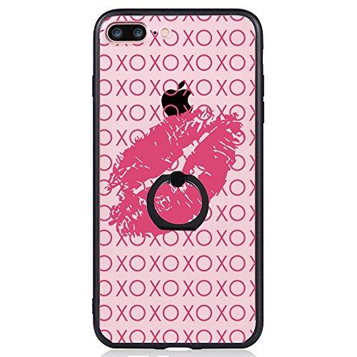 Coque iPhone 7 Plus, TrendyBox Transparent Noir Givré Anti-rayures Rotation Bague Case pour iPhone 7 Plus avec verre trempe film de protection (Bohémien) 1019