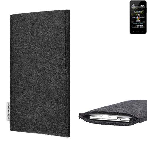 flat.design Handy Hülle Porto für Allview P4 Pro handgefertigte Handytasche Filz Tasche Schutz Case fair dunkelgrau