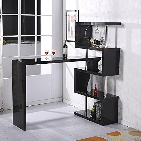 Homcom Modern High Gloss Bar Counter Beverage Table Storage Display Wooden Shelf Shelving Room Divider (Black)