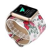 X-cool Apple Watch Bracelet Femme Cuir Long Double Cercle Conception de fleur avec...