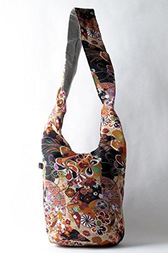 YuanDian Donna Nazionale Del Vento Retrò Stampa Borsa Secchiello Spalla Mano Bucket Bag Messenger Bag Albicocca Stampa