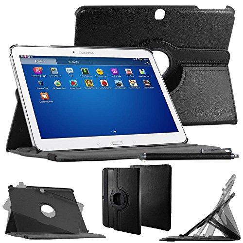 ebestStar - Housse Samsung Galaxy Tab 4 10.1 SM-T530, T531 T535 - Housse Coque Etui PU cuir Support rotatif 360° + Stylet tactile, Couleur Noir [Dimensions PRECISES de votre appareil : 243.4 x 176.4 x 8 mm, écran 10.1'']