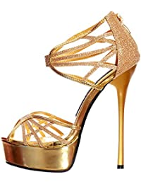 Perfect Me WOMENS GLADIATOR STRAPPY PEEP TOE GLITTER PLATFORM STILETTO HIGH HEEL SHOE SIZE