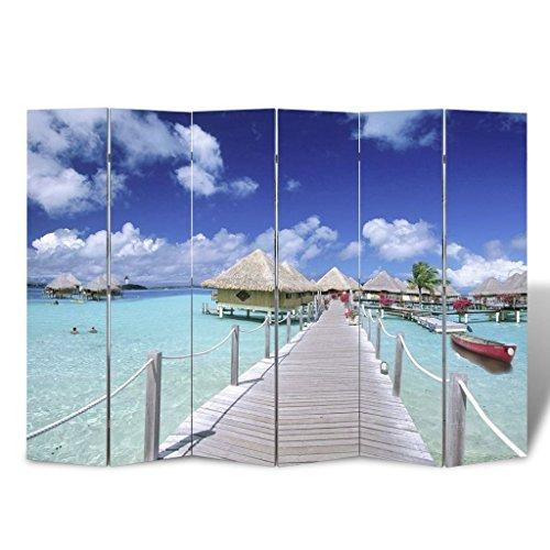vidaXL Biombo con Foto de Paisaje de Playa 240x180 cm Panel Divisor Es