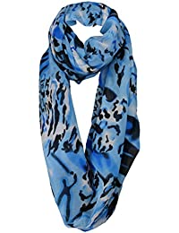1b1c8fd2d5f9ac TigerTie Damen Loop Schal in blau schwarz weiß gemustert - Gr. 180 x 100 cm