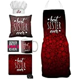 YaYa Cafe Birthday Bhaidooj Gifts For Sister Combo, Best Sister Ever Set Of 6 - Mug, Coaster, Apron, Chef Hat, Cushion Cover, Mousepad