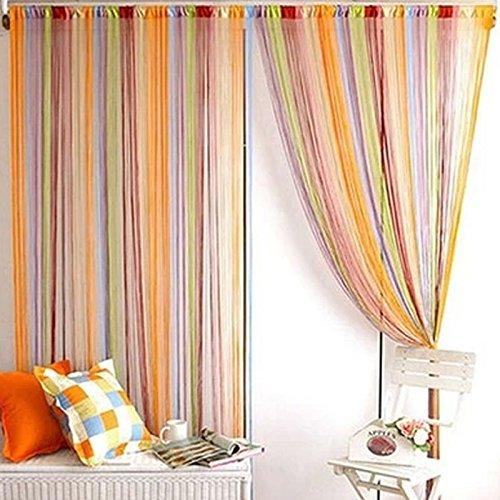 Occitop Bunte Fadenvorhang Glänzend Linienvorhang Fenster für Wohnzimmer