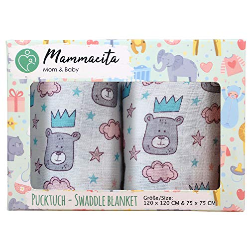 Baby Pucktuch 2er Set - Swaddle Blanket aus 100% Baumwolle - leichte & weiche Puckdecke - ideal als Babydecke, Stilltuch, Spucktuch - 2 Stück (120x120 cm + 75x75 cm) (Bär) -
