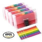 Clasificadores Carpetas de Acordeón A6 Tamaño, 13 Bolsillos, Extensible, Portátil, Arcoíris Multicolor, Plástico Carpeta de Archivos Organizadora de documentos con Indice de Etiquetas,4 unidades