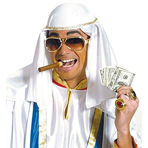 Goldener Orient Turban Scheich Kopfbedeckung Sultan Kopftuch Kalif Araber Prinz Ölscheich Tuareg Beduine Selim Osmanien Arabischer Kopfschmuck Scheichtuch Fasching 1001 Nacht Mottoparty Accessoire Karneval Kostüm (Kostüm Beduinen Kostüm)