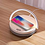Seelky LED Night Light,4 in 1 Touch Desk Lamp, Music Bedside Lamp with Wireless Charger, Portable Bluetooth Sp