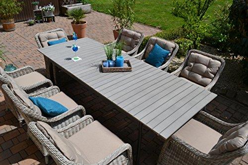 """Gartenmöbel Set Como""""XL""""-8 Tisch ausziehbar (205/260) Holzdekor mit 8 Sessel Rattan Polyrattan Geflecht - 6"""