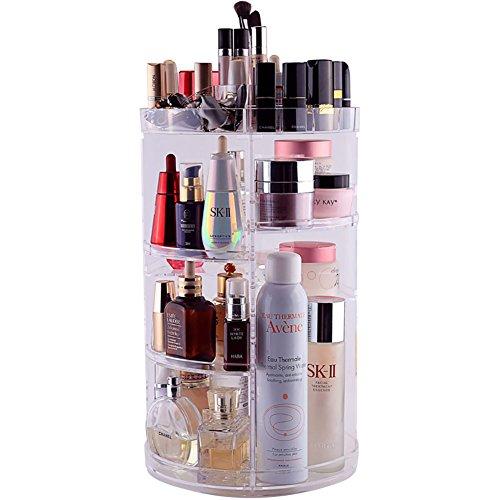 Familystory Acryl Make-up Veranstalter Aufbewahrungsbox, Große Rotierende Arbeitsplatte Kosmetik Aufbewahrungskoffer Schmuck Display-Stand Schubladen 4 Schichten für Lippenstift, Creme, Bürsten