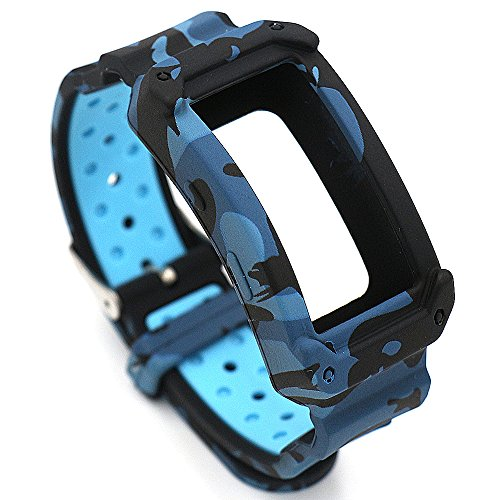 Fatetec Silikon Uhr Armband Ersatz Band Riemen für Samsung Galaxy Gear Fit 2 SM-R360 Armband Smartwatch (Blue cam)
