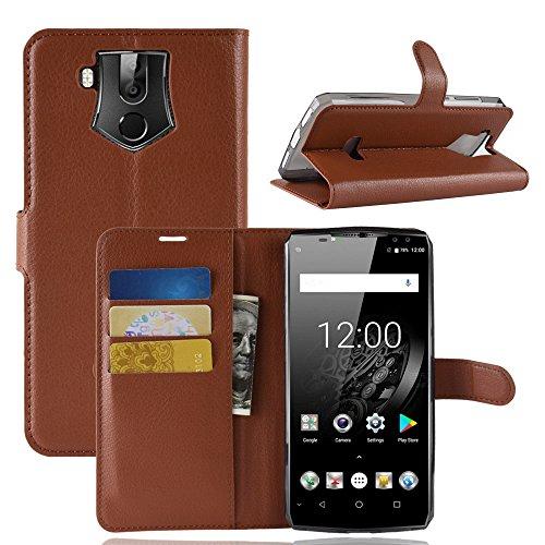 HDOMI Oukitel K10 Hülle, High Grade Leder Geldbörse mit [Kartensteckplätze] Flip Schutzhülle Cover für Oukitel K10 (Braun)