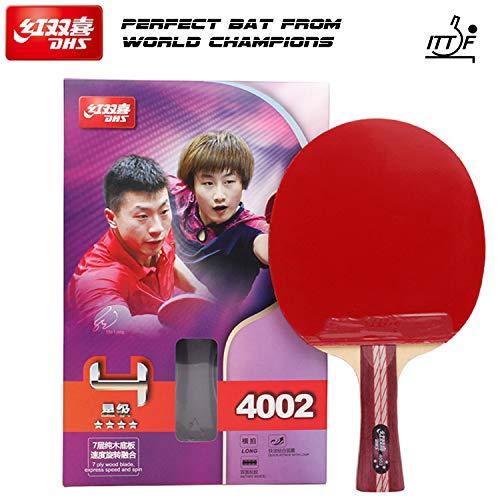DHS Tischtennisschläger, 4 Sterne, professioneller Ping-Pong-Schläger, Tischtennisschläger, mit ITTF-geprüftem Gummi, perfekt für fortgeschrittene und fortgeschrittene, Bequeme Griffe