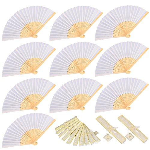 10 piezas Abanicos de Mano Abanico Plegable de Bambú para Foto prop...