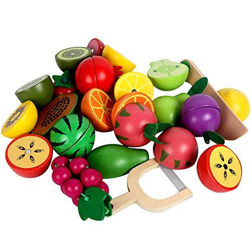 YUANZHOU 12/16 stücke (1 Satz) Küche Lebensmittel Spielzeug Obst Gemüse Holz Pretend Play Spiele Lebensmittel Spielzeug mit Korb Für Kinder, Mädchen, Jungen Küche Set (Aus Obst Korb Holz)