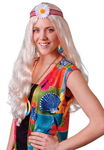 Bristol Novelty bw385Hippie-Lady blond Blume Perücke, eine (Hippie Kostüm Chick 70's)