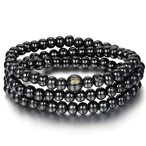 Flongo 8mm Bois Bracelet Lien Poignet Collier Chaîne Tibétain Bouddhiste Noir Santal Perle Prière Multi-Couche Élastique
