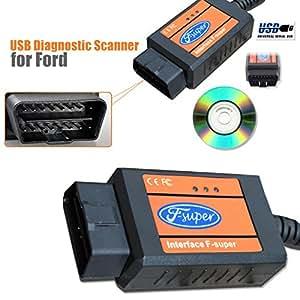 Super Scanner d'Interface F pour Ford et lecteur de codes d'anomalies: Outil de scannage et de lecture USB KA Fiesta Fusion OBD2