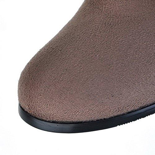 VogueZone009 Femme Tire à Talon Bas Suédé Couleur Unie Haut Demi Bottes Kaki