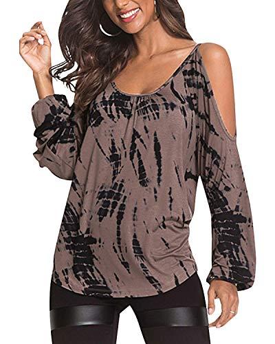 YOINS Damen Oberteile Elegant Bluse Damen Sexy Schulterfrei Herbst Langarmshirt Casual T-Shirt Braun S/EU36-38