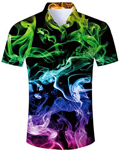 Loveternal Hawaii Hemd Bunter Rauch Kurzarm Shirt Funky Shirt 3D Gedruckt Hawaiian Themed Party Sommer Kleidung XXL (Für Sommer-kleidung Männer)
