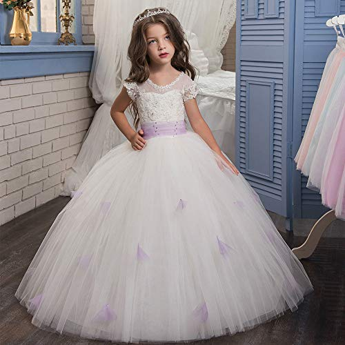 Yhjklm Prom Party Kleid Spitze-verkrustete Violet Ball Blumenmädchen Pettiskirt Girl Show Hochzeitskleid Luxus (Größe : 8-9T)
