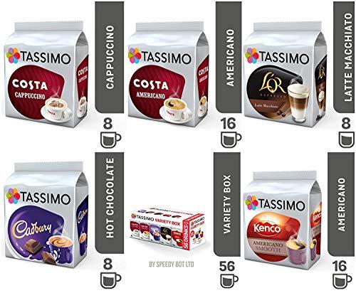 Tassimo T Discos dosette Pods Coffee Latte capuchino Hot Chocolate Cadbury Americano Variety Box Set 56Cups Drinks ☕ ☕