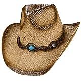 Markenlos - Sombrero cowboy - para hombre naturaleza M 56 cm-57 cm 1dc6ea4656c