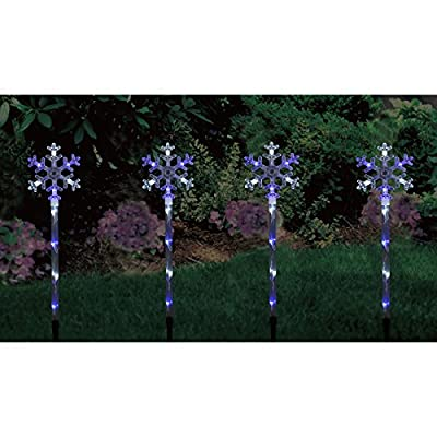 Set of 4 Blue & White LED Snowflake Pathway Light Up Outdoor Garden Decoration