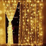 Elegear Lichtervorhang 600 LEDs warmweiß Lichterkette 8 Modi 6 x 3 Meter LED Weihnachtsbeleuchtung strombetrieb Deko für Innen Außen Neujahr Weihnachten Geburtstag Feiertag Party Hotel Garten Hochzeit