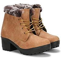 PrasKing Women's High Heel Ankle Length Boots